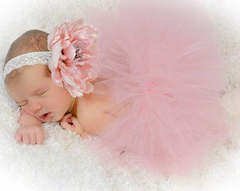 Half Newborn Tutu, Ready To Ship,Dusty Rose Pinky/Peach Colered Newborn Tutu and Matching Headband Set, Baby Shower Gift,Photography Prop