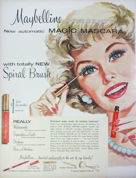 1959 Maybelline Magic Mascara Vintage Advertisement Bathroom