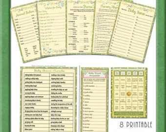 baby shower games collection in soft yellows printable baby shower