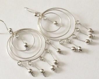 Sterling Silver Artesian Triple Hoop Dangle Earrings