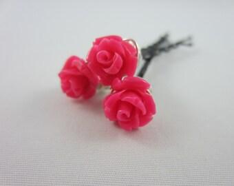 Rose Hair Pins - Silver Hair Pins - Rose Bobby Pins - Pink Rose Hair Pins - Wedding Hair Accessories - Bridal Hair Pins - Prom Hair Pins