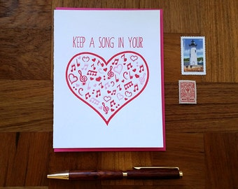 Keep a Song in Your Heart, Letterpress Greeting Card, Blank Inside