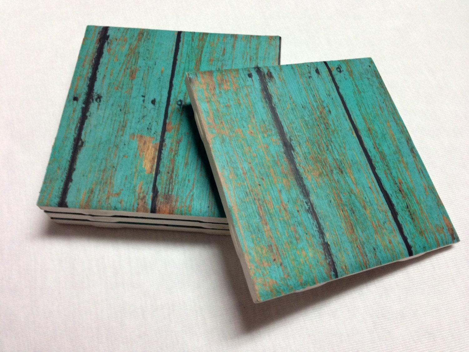 Turquoise Coasters Teal Wood Design Home Decor Drink