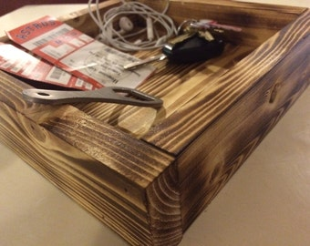 Burned Wood Square Tray
