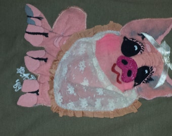 "Vintage ""Pig Out"" (registered trademark-patent pending) Ladies' Top and Skirt.  Dated 1989"