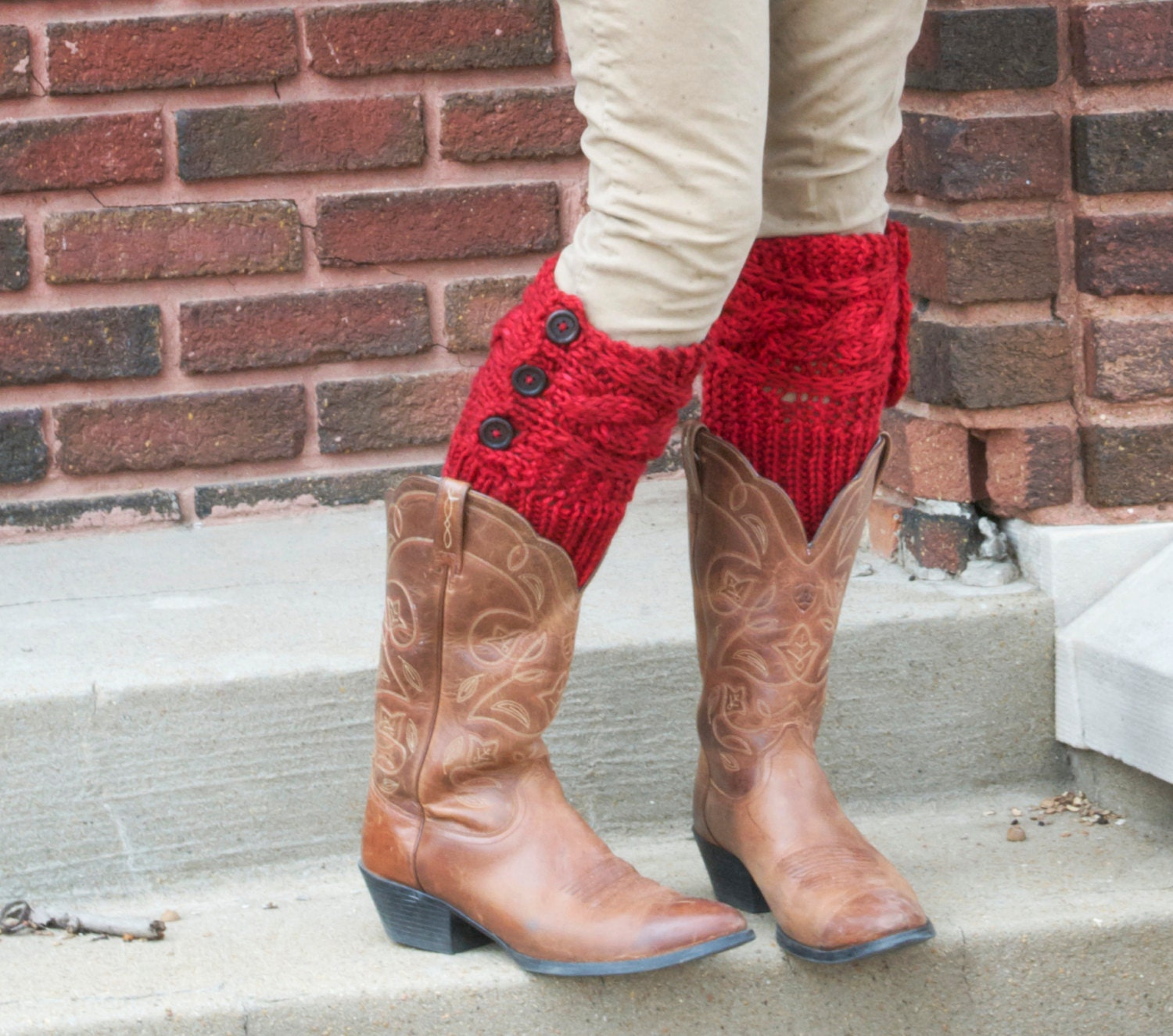 Knitting Pattern Leg Warmers Bulky Yarn : Skating in the Streets Bulky Knit Boot Cuffs Leg Warmers Buttoned Reversible ...