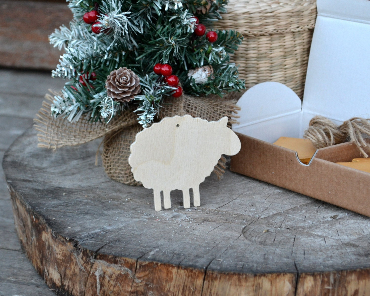 Christmas ornaments wooden sheep set of 10 pieces christmas for Sheep christmas ornament craft