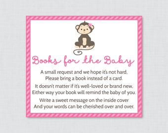 Monkey Baby Shower Bring A Book Instead Of A Card Invitation Inserts    Instant Download