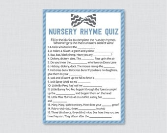 Bow Tie Baby Shower Nursery Rhyme Quiz Baby Shower Game in Baby Blue and Gray - Printable Instant Download - Bow Tie Baby Game -0007-A