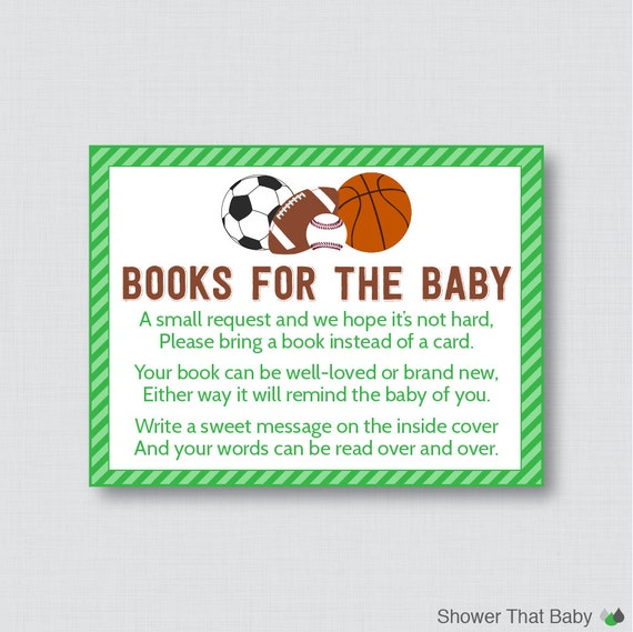 sports themed baby shower bring a book instead of a card invitation