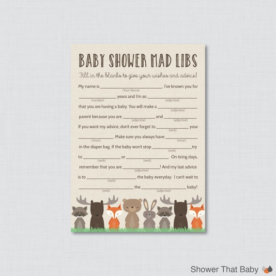 Woodland Baby Shower Mad Libs Printable Baby Shower Advice