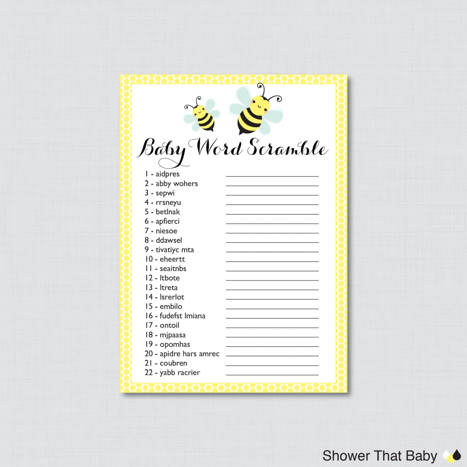 bumble bee baby shower word scramble game in yellow