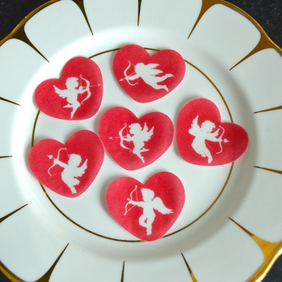 Edible Red Hearts White Cupids Valentines Day Wafer Rice ...