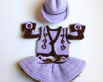 Baby Girl, Crochet, Lavender Cowgirl Vest, Skirt with Attached Tutu, Cowgirl Hat, and Cowgirl Boots Set.  Special Order.