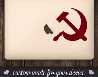 USSR Soviet Sickle and Hammer Decal - Communism Decal, Russia, Macbook Decal, Sticker, Phone Decal