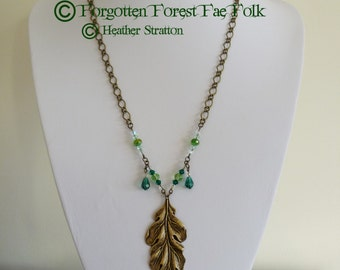 Oak leaf necklace with crystals
