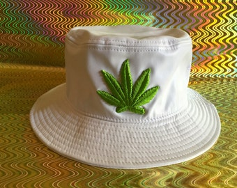 Bucket Hat - Stoner Leather White Hat with Pot Leaf