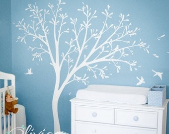White tree decals for nursery - Wall sticker - Home Decor - DIY Home project - wall art - Large tree decal -  kids room -  NT003