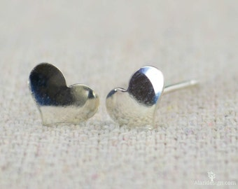 Small Silver Heart Earrings, Sterling Silver Earrings, Silver Stud Earrings, Simple Silver Earrings, Everyday Earrings, Silver Post Earrings