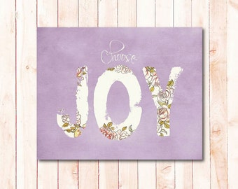 choose joy printable wall art purple, motivational quotes digital instant download floral typography poster shabby chic printable girls room