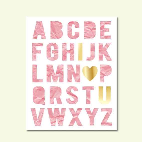 Pink and gold nursery i love you alphabet letters printable for Babies r us wall letters