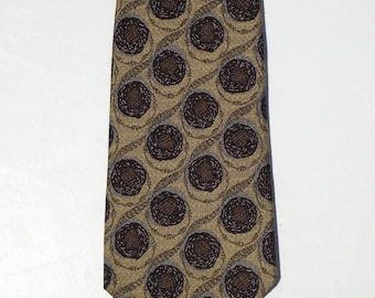 Robert Talbott Best of Class Silk Necktie, Gold Bronze Burgundy Gray Foulard Tie, Fashion Accessory, Business Clothing, Father Birthday Gift