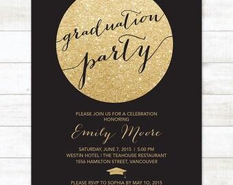 black and gold graduation party invitation, black and gold glitter printable graduation party digital invite, customizable