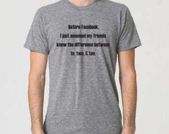 Funny tshirt. Difference between to, too, & two. Grammar police tee. Funny shirt. Geek humor. Grey American Apparel Tee by Pink Pig Printing