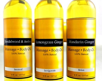 Natural Organic Massage & Body Oil, Sensual Massage, Bath Oil, Moisturizer, Dry Skin Relief, Best Body Oil