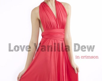 Bridesmaid Dress Infinity Dress Straight Hem Crimson Knee Length Wrap Convertible Dress Wedding Dress