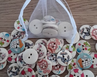 10 Nautical 20mm Wooden Buttons