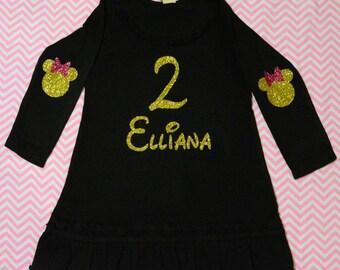 Sweet Birthday Dress! Girls Personalized Dress (Black Dress/ Gold/Pink Glitter )