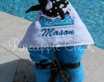 Whale Hooded Towel MONOGRAM INCLUDED