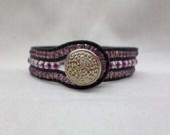 3 Row Purple Czech Glass Leather Cuff