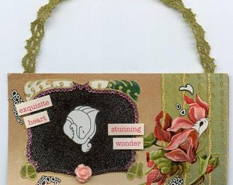 Loves Token Collage Art, Wall Hanging, Vintage Postcard, Vintage Post Card, Valentines Card, Vintage Valentine, Valentine Art, Husband, Wife