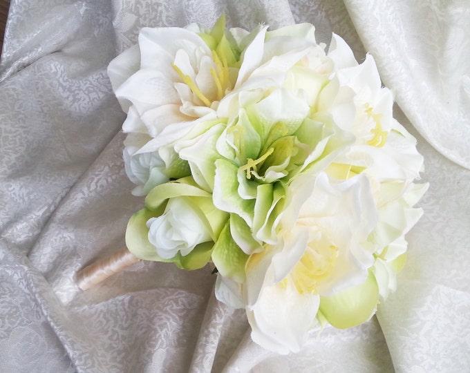 Green silk flowers wedding BOUQUET greenery lime green cream roses lily satin ribbon  Bridal Bridesmaids cheap