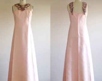 Pink dress- Pink gown- Formal dress- Beaded dress- Pink prom dress- 60s evening dress- Pink bridesmaid- Petite/ extra small