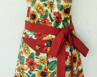 Sunflower Apron, Sunflowers, Cute Apron, Retro Style, Autumn Apron, KitschNStyle