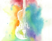 Watercolor Violin Silhouette-Colorful Rainbow Instrument Painting