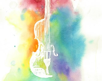 Watercolor Violin Silhouette-Colorful Rainbow Instrument Print