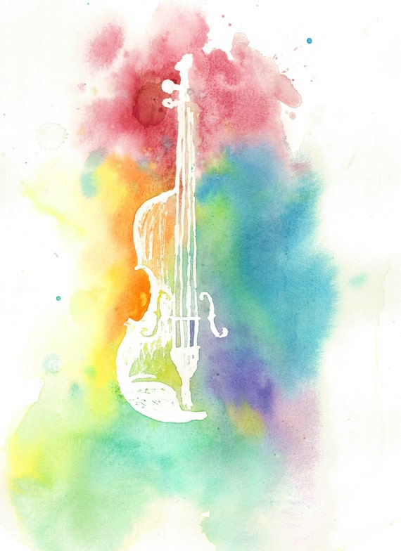 Watercolor Violin Silhouette Colorful Rainbow Instrument Print