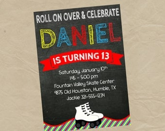 BOYS Roller Skating Birthday Party Invitation - Digital or Printed