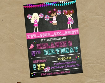 CHEERLEADER Birthday Party Invitation Cheer - Digital or Printed