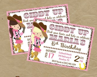 COWGIRL Birthday Party Invitation -Digital or Printed