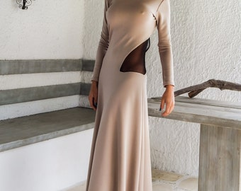 Open back with see-through details maxi dress - #95005