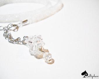 White bridal necklace - Wedding jewelry - wrap bracelet