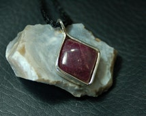 Ruby Pendant, Square Cut/Diamond Shape Natural Ruby, with Sterling Silver Pendant