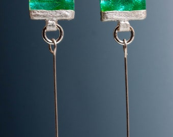 Dichroic  Earrings - Crystal Dangles - Green Earrings, Silver Dichroic, Silver Earrings, Green Dangle Earrings