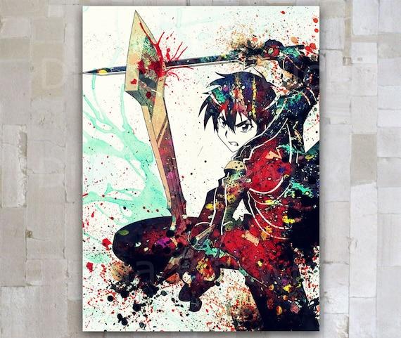 Anime Sword Art Online Poster Print Kirito Manga A3 Watercolor Digital Download SAO