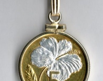 Flower Pendant / 5 Year Anniversary Gift for Her - Silver & Gold Cook Islands 5 cent White Hibiscus Necklace